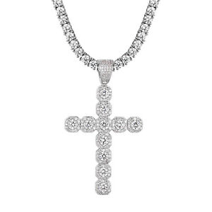Solitaire 1 Row Cross Pendant Tennis Chain Simulated Diamond 925 Silver Hip Hop