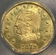 1872-Dated Washington 1/2 Cal Gold Charm Octagonal (0.28gm).  NGC MS63.  Scarce.
