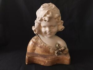 Art Nouveau French Figure Of A Young Girl - Signed Plaster Bust