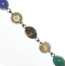 Tiger Eye/Onyx Scarab Bracelet Beautiful Gold Filled Gemstone/Genuine Pearl