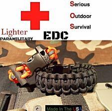 Paracord EDC Survival Bracelet Band / Flint Rod Fire / Whistle / 550 FIRE CORD