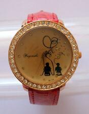 Superbe montre fantaisie femme ou adolescente cadran décoré amoureux et strass
