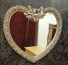 Heart Wall Mirror Ornate Champagne Silver Frame French Engrved Rose 88x84cm New