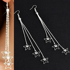 Korean Style Women Drop Long Chain Hook Threader Dangle Earring Ear Stud Jewelry