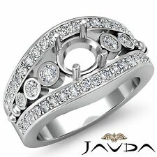 Semi Mount 0.75Ct Diamond Engagement Round Shape Halo Set Ring 14k White Gold