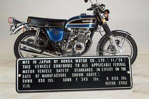 HONDA CB750 Four Data Plate year 1974 11/74 CB750K NECK Frame w your raised VIN