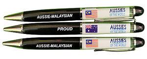 PROUD AUSSIE - MALAYSIAN AUSTRALIAN METAL PEN MALAYSIA SOUVENIR GIFT