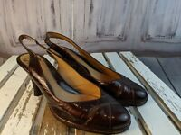Sofft womens shoes heels sandals slingbacks brown leather 7.5 1220310 slip