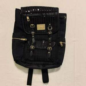 Juicy Couture Black Sequin backpack with Gold accents and Hot Pink Interior