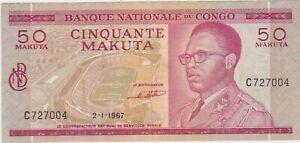Congo 50 Makuta 1967 AXF