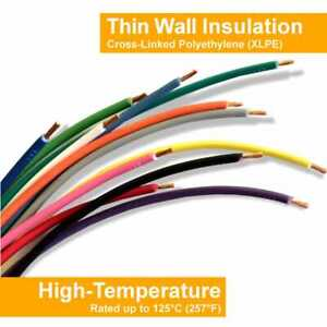 14 AWG GXL High Temp Automotive Primary Wire - SAE J 1128 Choose Color, Length