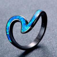 Wave Ocean Blue Fire Opal Ring Black Gold Wedding Band Women's Fashion Size 6-10