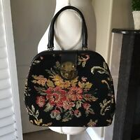 Vintage Needlepoint Floral Purse Black Thick Wool Tapestry Handbag Tote 50s 60s