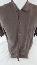 Tommy Bahama Silk Button Up Shirt Casual Hawaiian Palm Size M Brown Hawaii