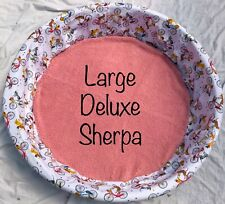 New Large Deluxe Sherpa Flannel Dog Whelping Pool Liner Round Dog Bed Cover Pets