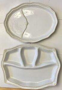 2pc Princess House Pavillion Divided Platter Snack Plate Chip Dip Tray