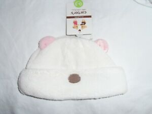 Carter's Infant White Polar Bear Faux Fur Hat Infant 0-3M New Nwt