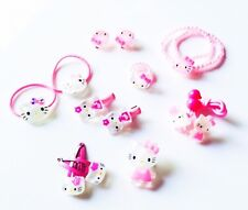 USA SELLER Kid Child Hello Kitty Jewelry Set Hair Clip Pin Ring Earring 12 Pics