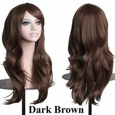 US Long Loose Wavy Lace Wig Curly Full Front Synthetic Hair Wigs Women Brown EK