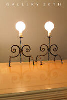 PAIR! PARZINGER MID CENTURY WROUGHT TORCHIERE ANDIRON STYLE LAMPS! 50S VTG RETRO