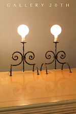 PAIR! PARZINGER MID CENTURY WROUGHT TORCHIERE ANDIRON STYLE LAMPS! 50 Vtg Eames