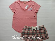 NWT HOLLISTER by Abercrombie 2pc Pajama Set Sleep Tee and Flannel Shorts Pink L