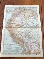 "1903 large colour fold out map titled "" south america - north west part """