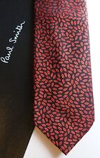 PAUL SMITH Silk Tie - Made in Italy GENUINE Classic Black/Red LIPs