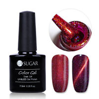7.5ml Red Holographics Nail Art Magnetic Cat Eye Soak off UV Gel Polish UR SUAGR