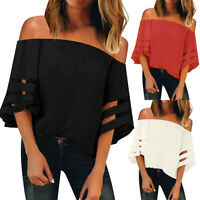 Women Off Shoulder Top Mesh Panel Blouse 3/4 Bell Sleeve Loose Top Shirt Blouse