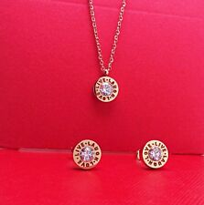 18K Rose Gold Stainless Steel LOVE LIVE LAUGH Pendant Necklace Earrings Set Gift