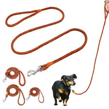 0.6/0.8/1.2cm Brown Dog Leash Braided Leather Pet Puppy Walking Lead Rolled Rope