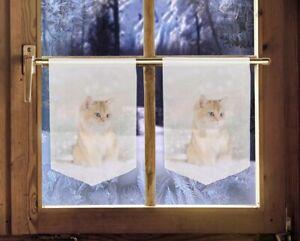 2er Set Scheibenhänger Katze winterliche Landhaus-Kurz-Gardinen Weihnachtsdeko