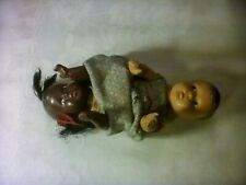 """Composition """"Topsy Turvy"""" Black / White Antique 7 1/2"""" Doll - Orig. Dress 1920's"""