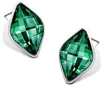 Amazing Silver & Emerald Dark Green Rhombus Stud Earrings E818