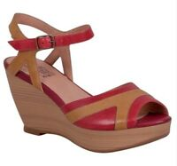 Miz Mooz Yvonna Wedge Sandals In Red Leather, Brand New In Box, 7.5/38