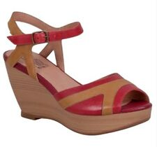 Miz Mooz Yvonna Wedge Sandals In Red Leather, Brand New In Box, 8.5/39