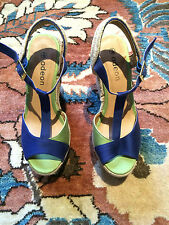 ODEON Blue Green Two Tone Ankle Strap Wedges - UK 6 - Never worn!