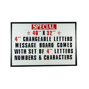"""4"""" Outdoor Changeable Letter Message Board Marquee sign with Metal Frame 48""""x32"""""""