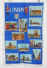 Vintage Kitchen Tea Towel Irish Linen London Scenes NOS
