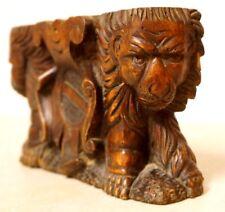 Antique 1860's Victorian Ornate Wood Carving Sculpture Double Lions & Shield