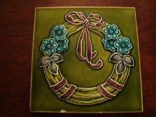 Art Nouveau Relief Moulded & Tubelined Flower Garland Tile  19/54
