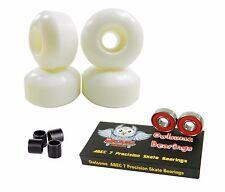 Blank Pro 52mm 99a White Skateboard Wheels + Owlsome ABEC 7 Bearings