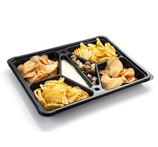 5 x Plastic Dip Party Catering Platter Black Base & Clear Lid (Case of FIVE)