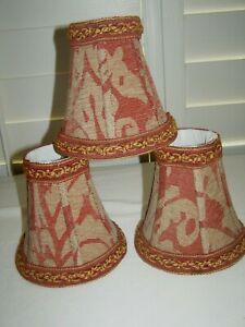 Three Beige & Red Broacade Fabric Small Bell Lampshades