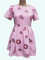 Nishe Dress SZ UK 8 EUR 36 Pink Donut Short Sleeves Waisted Embroidered Fabric