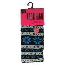 Calcetines de mujer azules de algodón de talla única