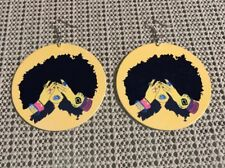 Vintage Afro Girl wood double sided Hoop Ethnic urban Earrings jewerly