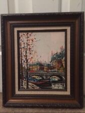 "Bernard Buffet Style Linari PARIS Oil Painting ""City View"" Mid Century Modernist"