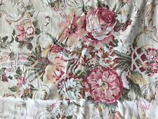 Ralph Lauren Guinevere Tan Floral Queen Flat Sheet Ruffled Edge